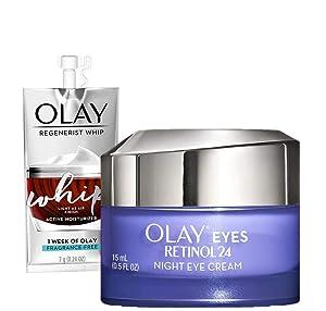 Olay Regenerist Retinol Eye Cream, Retinol 24 Night Eye Cream, 1.7oz + 1 Week Of Whip Face Moisturizer Travel/Trial Size