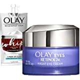Olay Regenerist Retinol Eye Cream, Retinol 24 Night Eye Cream, 0.5oz + Whip Face Moisturizer Travel/Trial Size Bundle