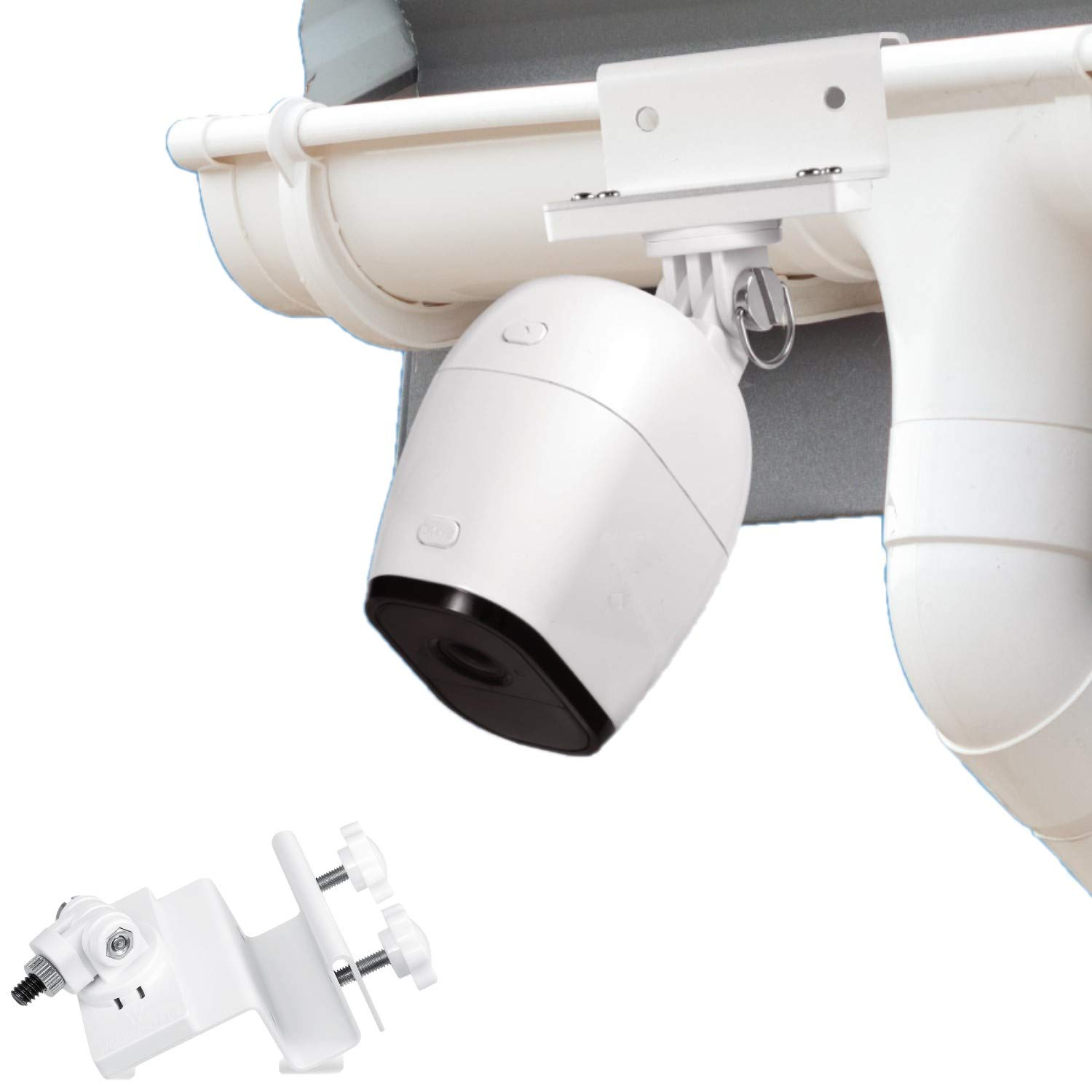 Wasserstein Weatherproof Gutter Mount Compatible with Arlo Pro, Arlo Pro 2, and Arlo HD - Better Placement for Better Protection (White)