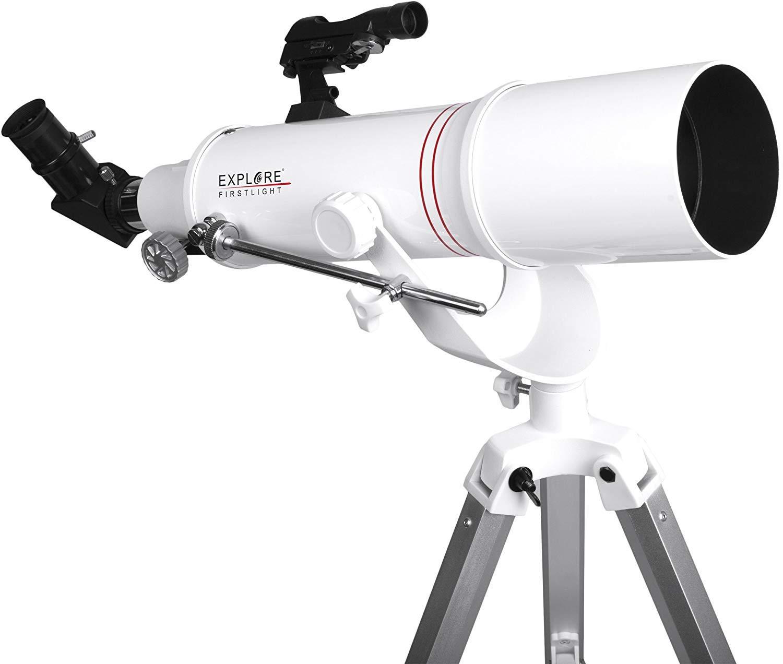 Explore Scientific FirstLight 90mm Refractor Telescope with AZ Mount (White) - Telescope for Adults Stargazing - Portable Doublet Refractor Telescope - Beginner Astronomy Telescope by Explore Scientific