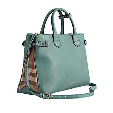 4c12f5823744 Amazon.com  Tote Bag Handbag Authentic Burberry Medium Banner in Leather  and House Check Smokeygreen Item 39826291  Shoes