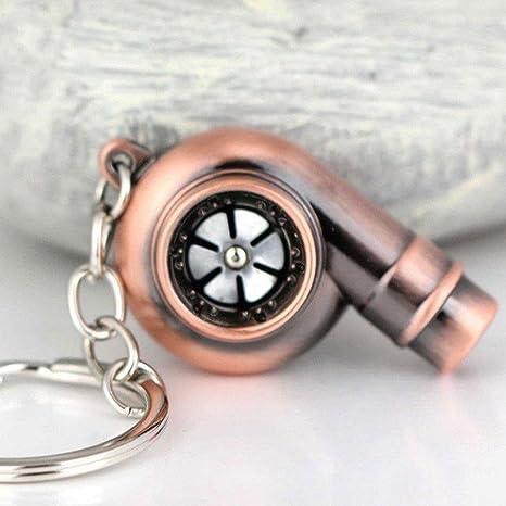 Zhuotop Llavero giratorio con forma de turbocompresor y sonido de silbato real., cobre
