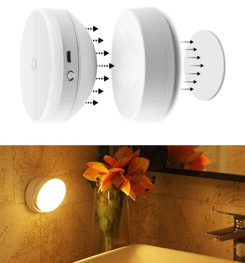 Iuhan Motion Sensor Closet Light, 360° Rotary Motion Sensor Closet Light LED Night Light Step Lights Stair Closet Light Under-Cabinet Lighting Lamp Tap Light for Hallway, Cabinet, Close (White)