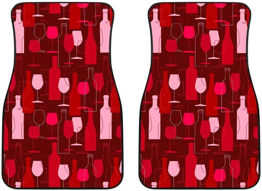 doginthehole Women Fashion Chanpagne Cup Pattern Universal Automobile Accessories Red Front Car Floor Mats with Non Slip Backing Heavy Duty Floor Mats