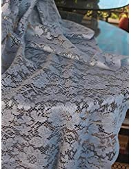 AK TRADING Floral Lace Crochet Tablecloth Overlay Table Cover (54-Inch Square, Pewter Grey)