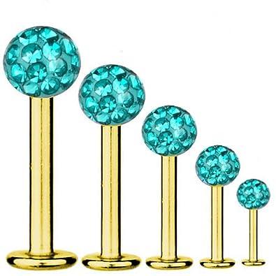 cc226e581 Labret Bar Tragus Piercing Gold Plated Titanium 1,2 mm, Multi Crystal Ball  Aqua