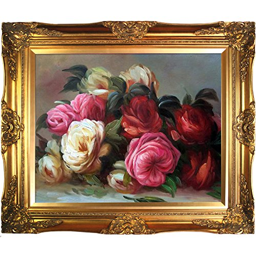overstockArt Renoir Discarded Roses Artwork with Victorian Gold Frame Finish