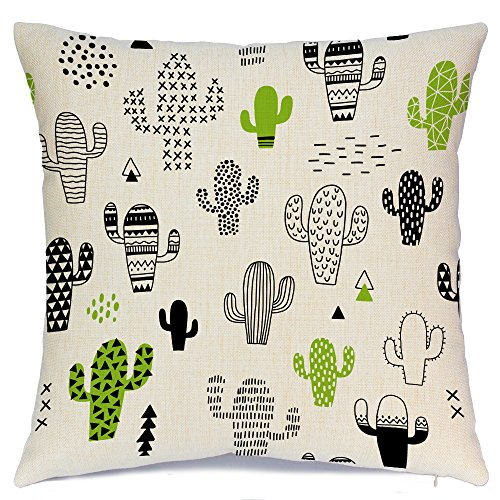 AENEY Cactus Home Decorative Throw Pillow Case Cushion Cover Cotton Linen Home Decor for Couch Sofa Bed Chair 18 X 18 Inch