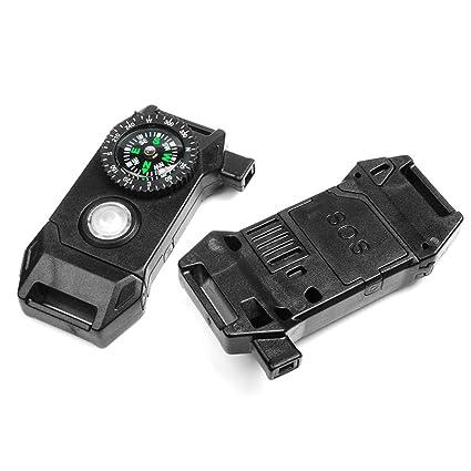 amazon com release compass whistle buckle led light sos flash flint
