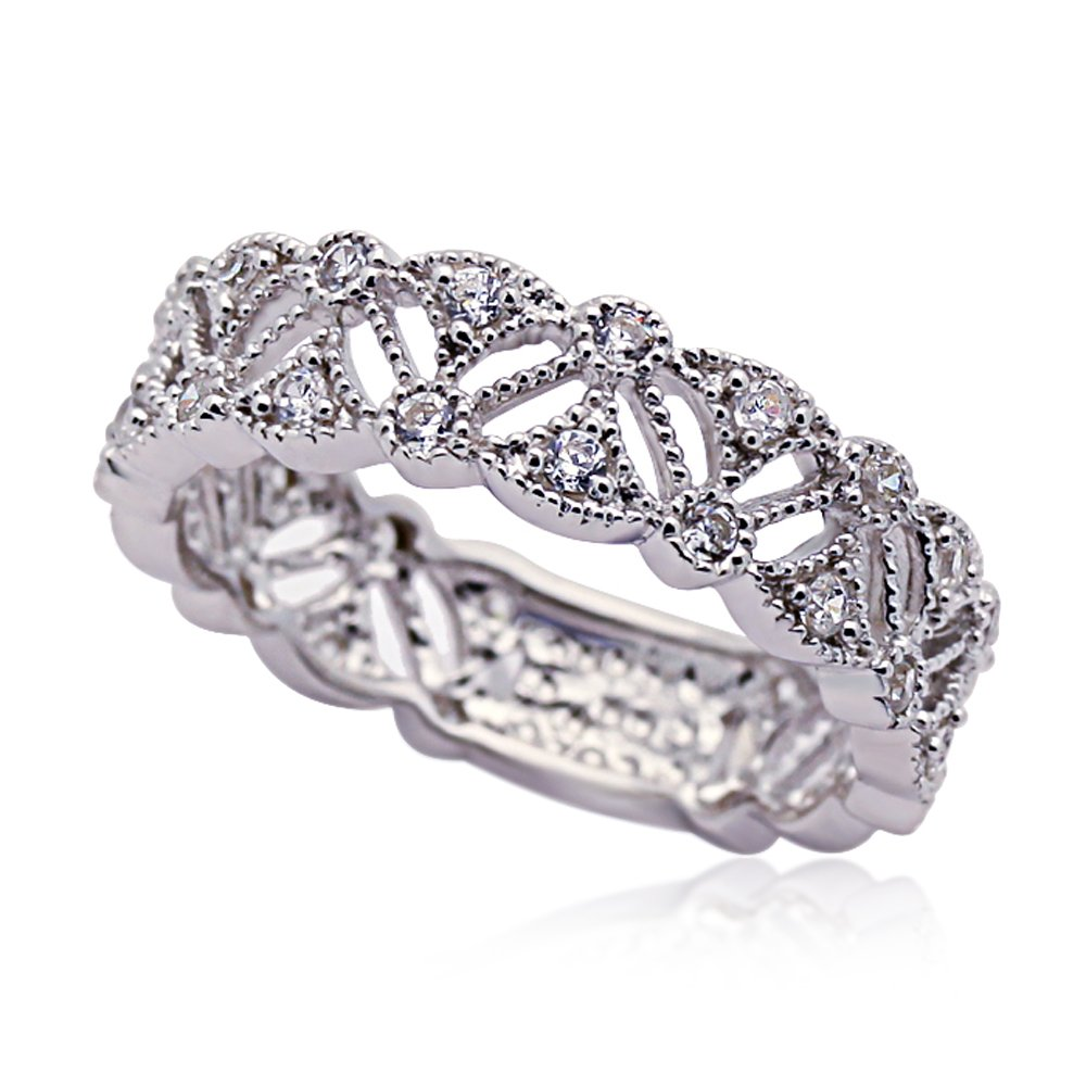 Sterling Silver Rhodium Plated, CZ Pave Vintage Style Wedding Anniversary Ring 6mm, 8