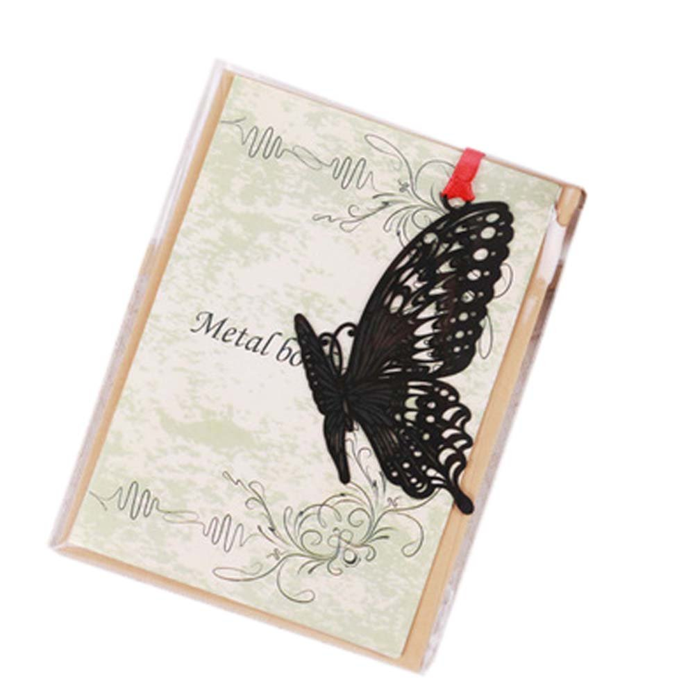 3 Pcs Hollowed-out Black Metal Bookmark Classical Chinese Style Retro Bookmarks Gift, Butterfly