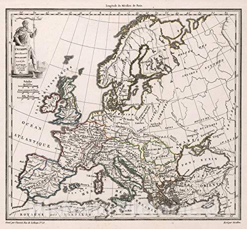 Historic Map   World Atlas Map, L'Europe apres l'invasion des Barbares, vers la fin du Ve. Siecle et pendant une partie du Veme. 1811. 1811   Vintage Wall Art   ()