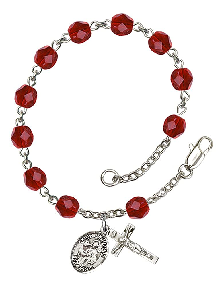 The Crucifix measures 5//8 x 1//4 Silver Plate Rosary Bracelet features 6mm Ruby Fire Polished beads The charm features a St Patron Saint Blood Banks Januarius medal