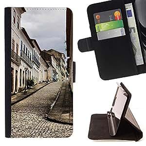 For Samsung Galaxy E5 E500,S-type Arquitectura Ciudad Vieja Europa - Dibujo PU billetera de cuero Funda Case Caso de la piel de la bolsa protectora