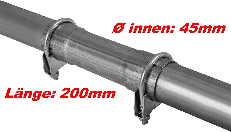 Ø 45x200mm Abgasanlage Verbindungsstück Universal Reparaturrohr Rohr Mit Aufweitung Auspuff Schelle Doppelschelle Rohrschelle Klemmstück Rohrverbinder Baumarkt