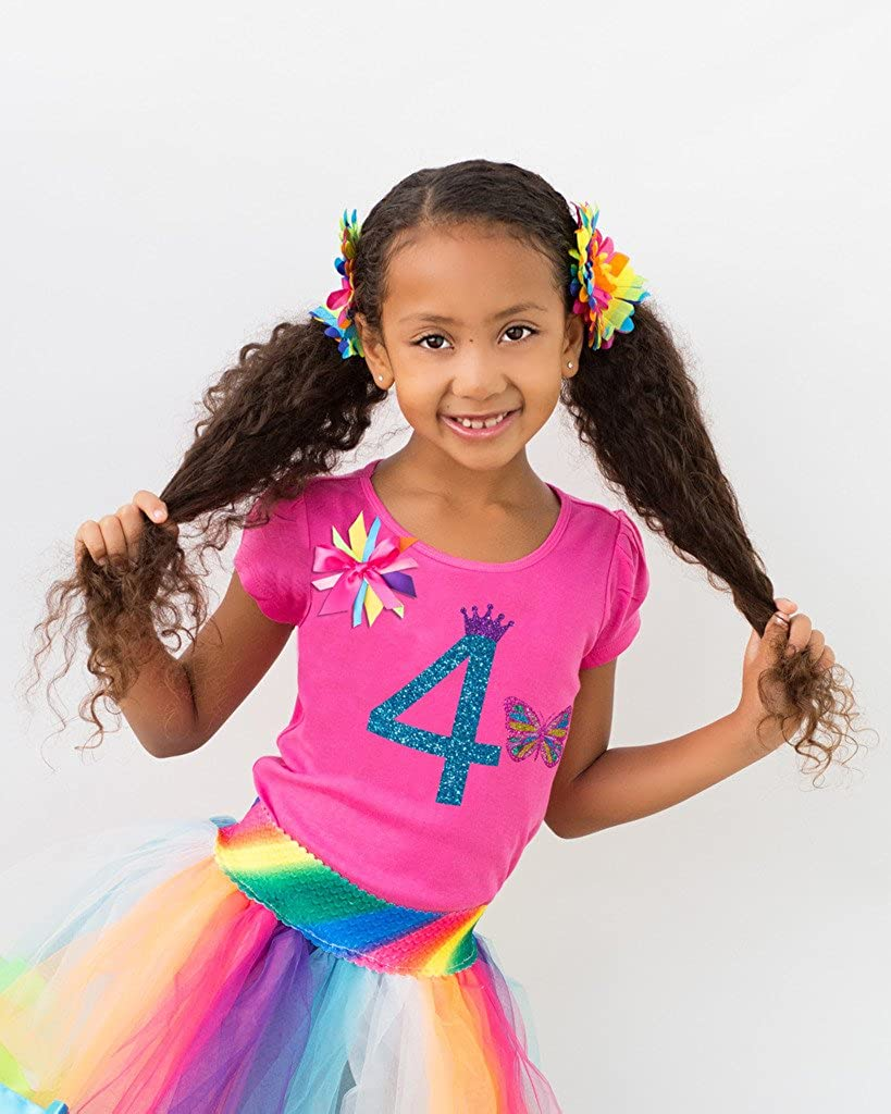 Bubblegum Divas Little Girls 4th Birthday Rainbow Princess Butterfly Tutu Outfit