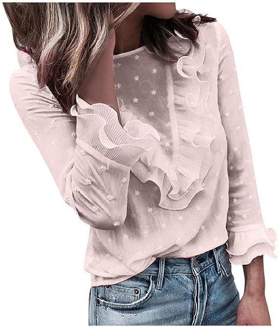 DEELIN Tops para Mujer Pullover Blusa Casual Encaje Polka Dot O Cuello Mangas De Manga Larga Camiseta: Amazon.es: Ropa y accesorios