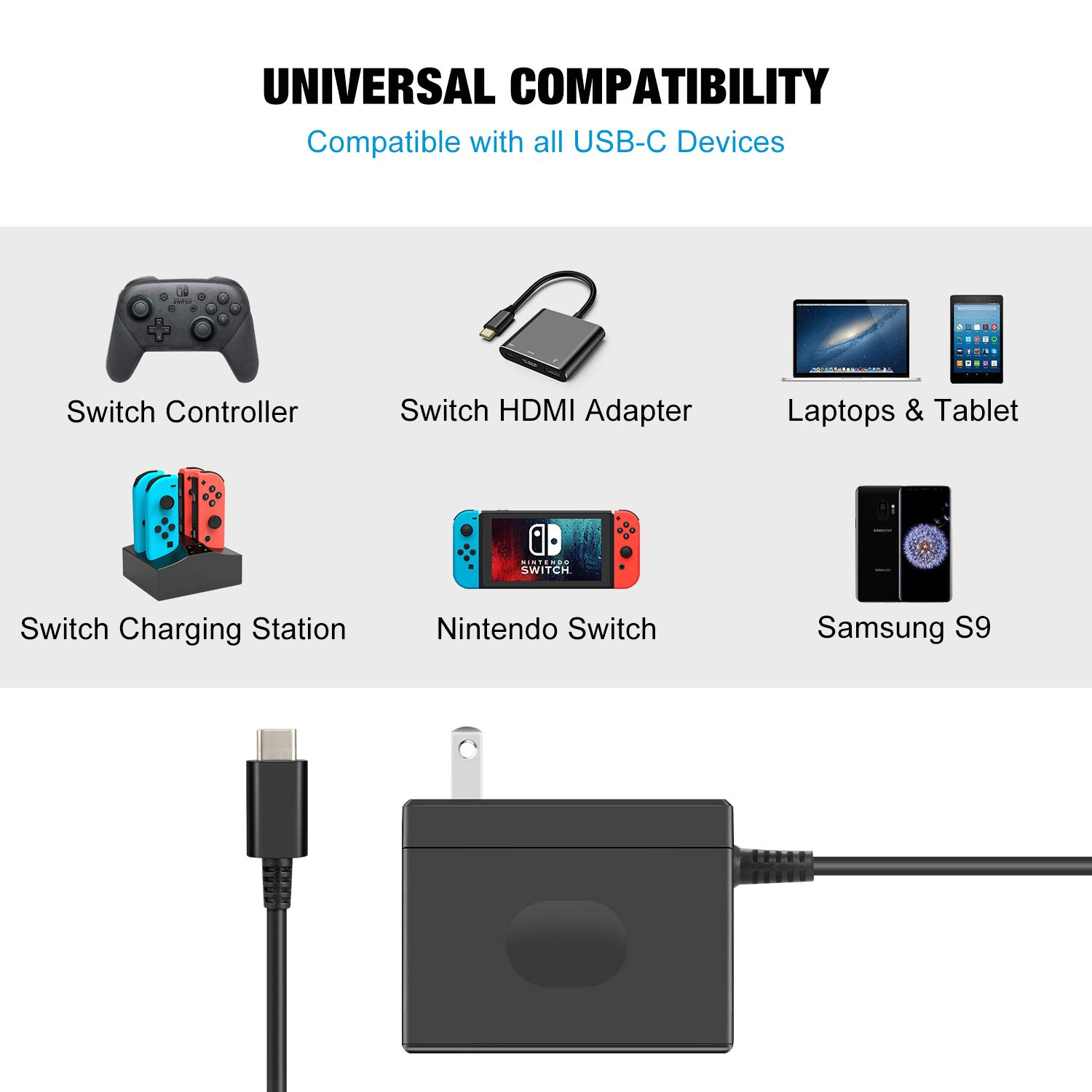 AC Adapter Charger for Nintendo Switch,Fast Charger with 5FT USB Type C Cable 15V/2.6A Power Supply Travel Wall Charger for Nintendo Switch Supports TV Mode and Dock Station