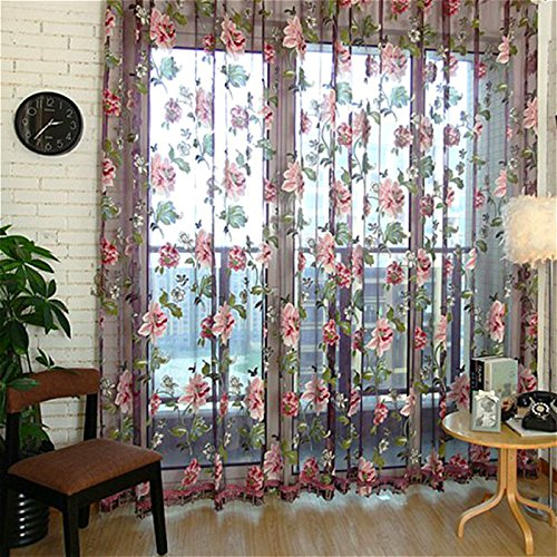 Finether Floral Printed Rod-Pocket Sheer Curtain Single Voile Curtain Panel Purple