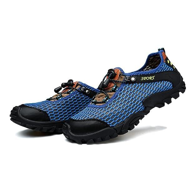 Chaussures de Sport pour Hommes Vamp Sneaker Talon Plat Lace Up à la Mode,Chaussures de Cricket (Color : Blue, Size : 42EU)
