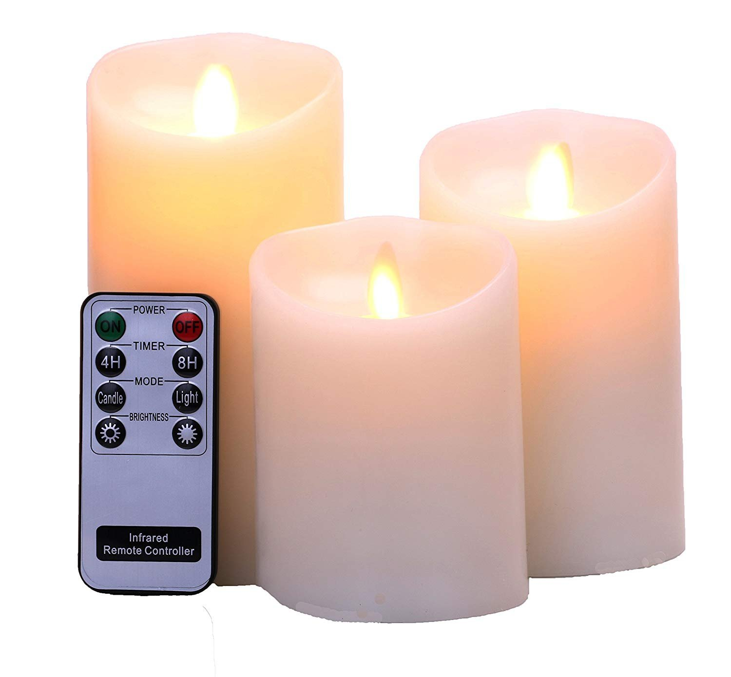 Flameless Candles 4 5 6 Set of 3 Ivory Real Wax Pillars & Moving Flame Wick LED Candles and 8-Key Remote Control with Timer Function, Battery Operated Brightown