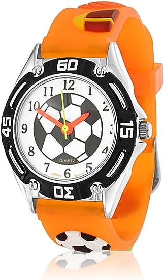 All Star Sport Baseball Soccer Football Waterproof Wrist Watch Time Teacher Quartz 3D Cartoon Orange Silicone Wristband