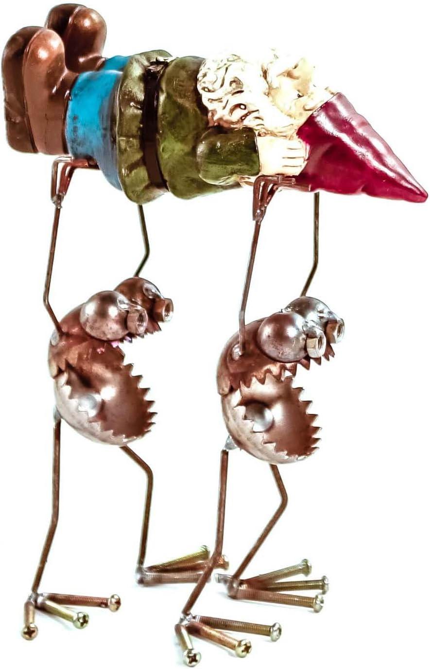 Sugarpost Scrap Metal Gnome Be Gone- Gnome Bearers With Gnome Indoor Outdoor Metal Art Sculptures
