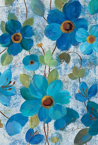 Toland Home Garden Oil Painted Blue Poppies and Lilies 12.5 x 18 Inch Decorative Spring Poppy Lily Flower Garden Flag