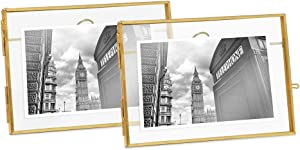 Isaac Jacobs 4x6 (2-Pack), Antique Gold, Vintage Style Brass and Glass, Metal Floating Picture Frame (Horizontal) with Locket Closure, for Photos, Art, & More, Tabletop Display (4x6 Antique Gold)