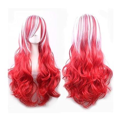 jspoir melodiz Bella Mujer Rojo peluca gewellte geschichteten peluca Rojo Blanco degradado Cosplay Pelo
