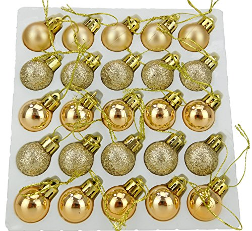 Christmas Concepts Pack of 25-25mm Mini Christmas Tree Baubles - Shiny, Matte & Glitter Decorated Baubles (Champagne) (Christmas With Tree Ribbon Decorated)