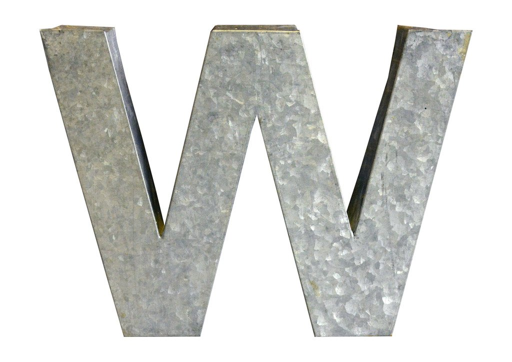 Modelli Creations Alphabet Letter W Wall Decor, Zinc