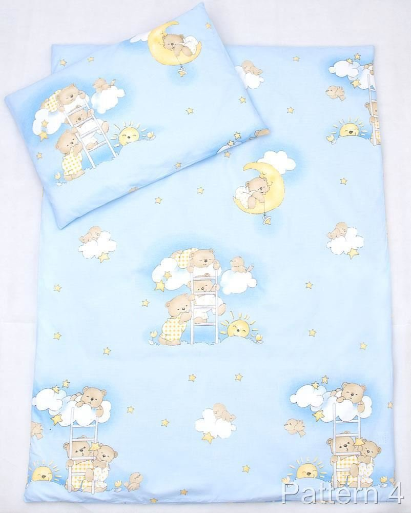 2 Piece Duvet Pillow Set For Crib, Cradle, Pram, Filling Baby Bedding Set - LADDERS BLUE Baby Comfort