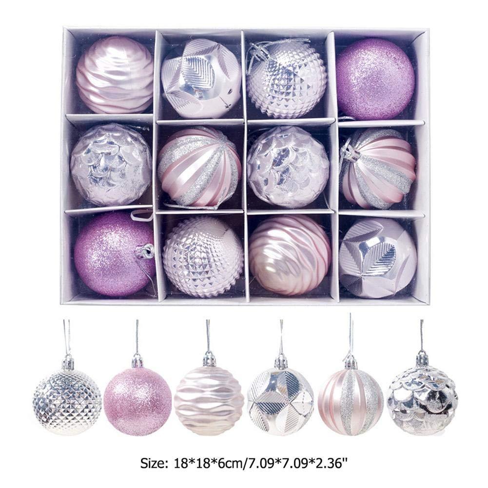 Demiawaking 12pcs Palline Natalizie 6cm Palle per Albero di Natale Ornamenti Appesi Addobbi Natalizi Decorazioni per Albero di Natale Argento