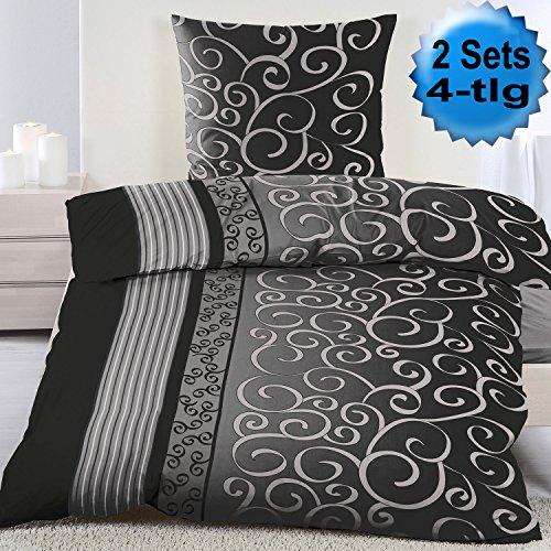 4-tlg. Fleece Winter Bettwäsche, 2x (135x200 + 80x80cm), grau schwarz gemustert, Microfaser (60277)