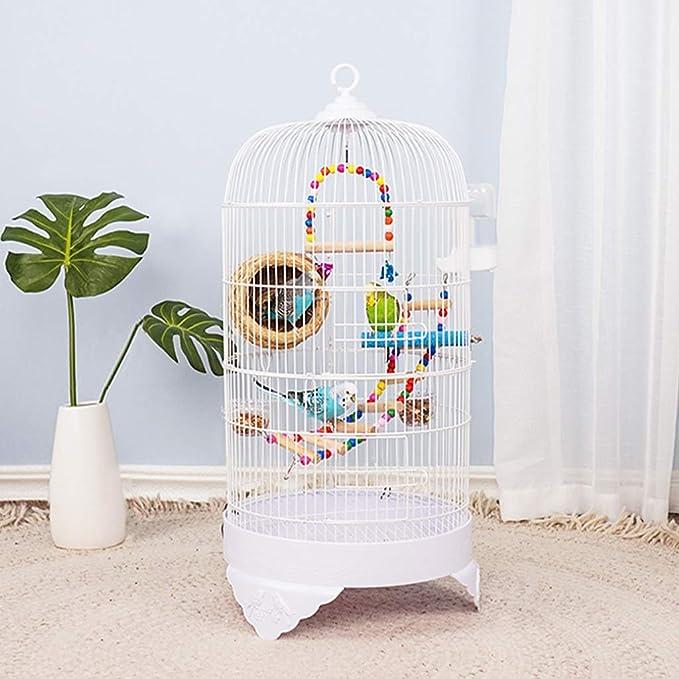 Canarios Jaula Mascota Redondo de acero inoxidable de 75cm de metal de la jaula del loro perla jaula de pájaro Ronda creativa canaria jaula de pájaro con la escala juguetes colgantes Jaulas para Loros