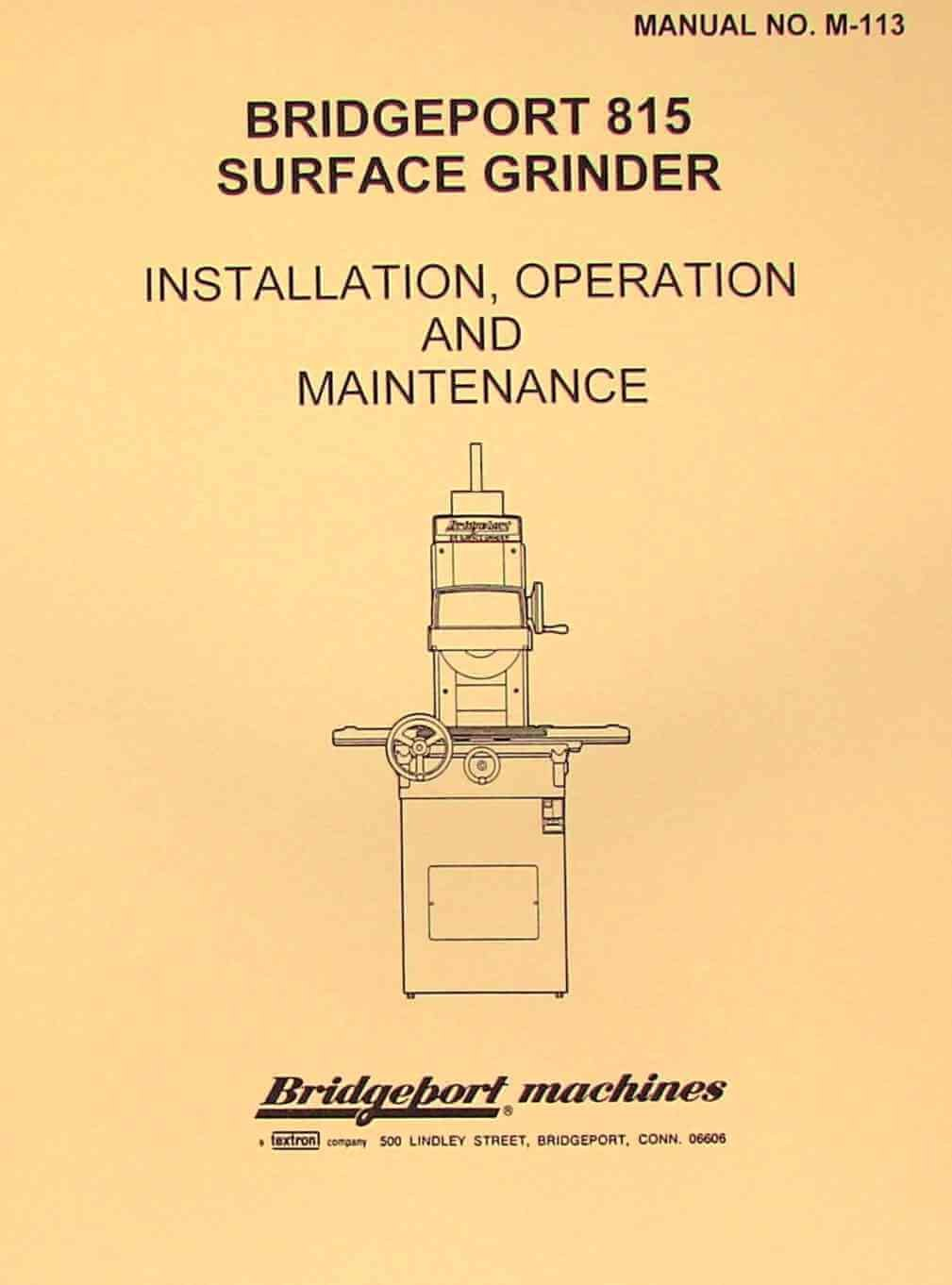 Bridgeport Diagram M Great Installation Of Wiring Milling Machine 815 Surface Grinder Operation Parts And Maintenance Rh Amazon Com Mill Head