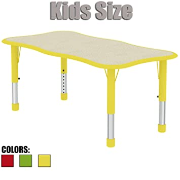 Delightful 2xhome   Yellow   Kids Table   Height Adjustable Wavy Rectangle Shape Child  Laminate Top Activity