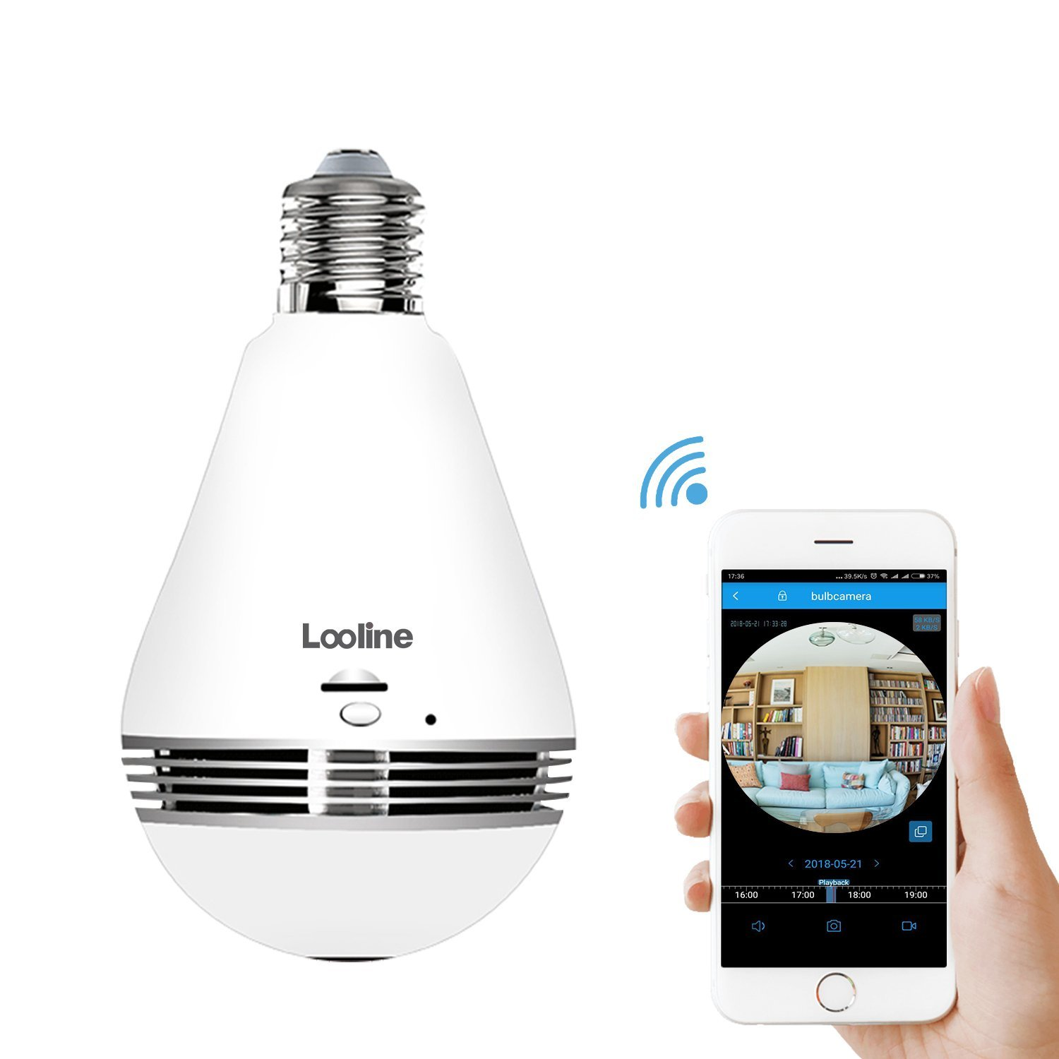 Light Bulb Camera VR Panoramic IP Wireless WiFi Camera Include 16GB TFCard with Cloud Store 360 Degree Fisheye Lens Lighting Lamp for Home Security Camera Bulb 960P HD E27 LED Dimmable Lamp