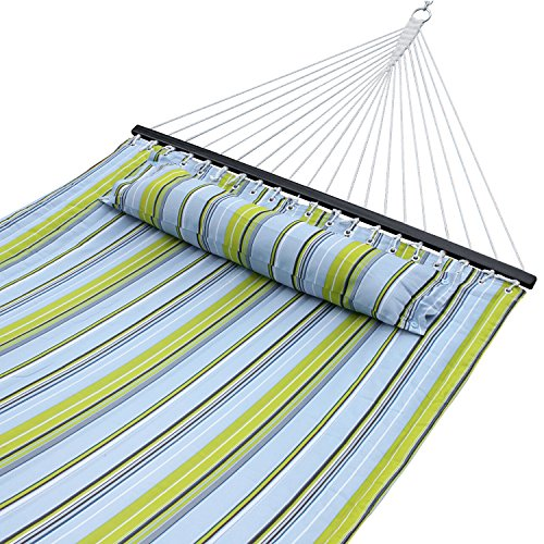 SUPER DEAL Newest Hammock Quilted Fabric Double Size Spreader Bar Heavy Duty Portable Outdoor Camping Hammock 480lbs Capacity Blue Green