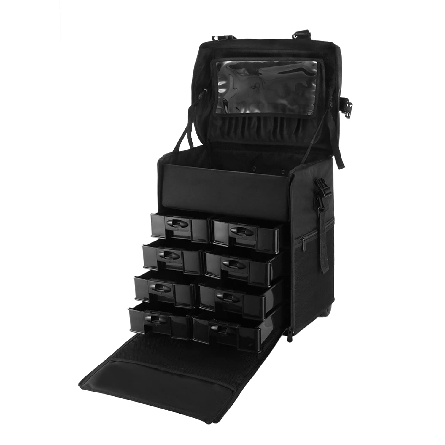 OrangeA 2 in 1 Makeup Case Black Nylon Makeup Case Professional Makeup Artist Rolling Trolley with Multiple Compartments and Lift Handle for Travel Cases (2 in 1 makeup case)