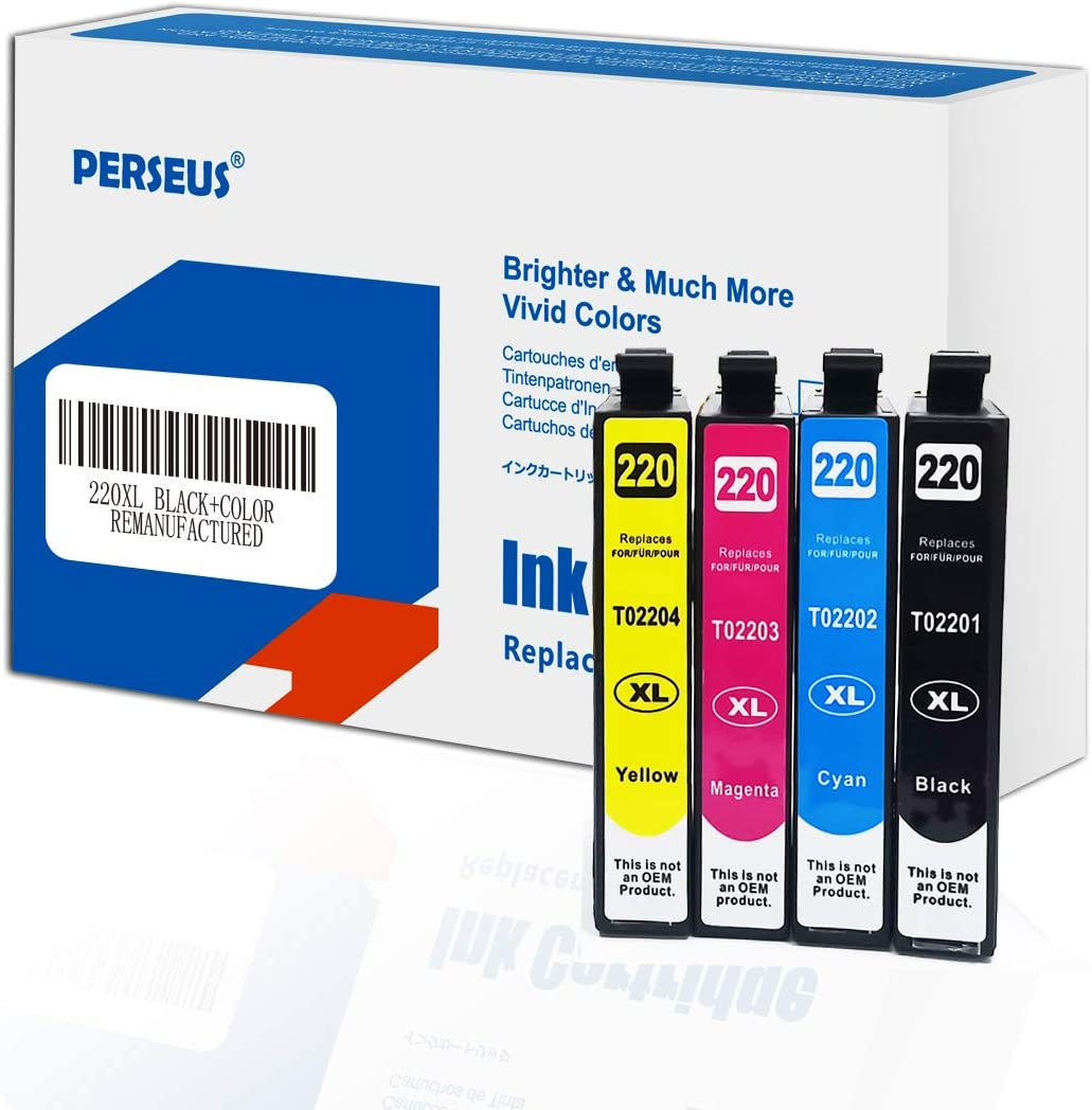 PERSEUS Remanufactured Ink Cartridge Replacement for Epson T220 220 XL Multipack, use for WF-2650 WF-2750 WF-2630 WF2760 WF2660 XP-424 XP-420 XP-320 Printer, 220XL (Black/Cyan/Magenta/Yellow)