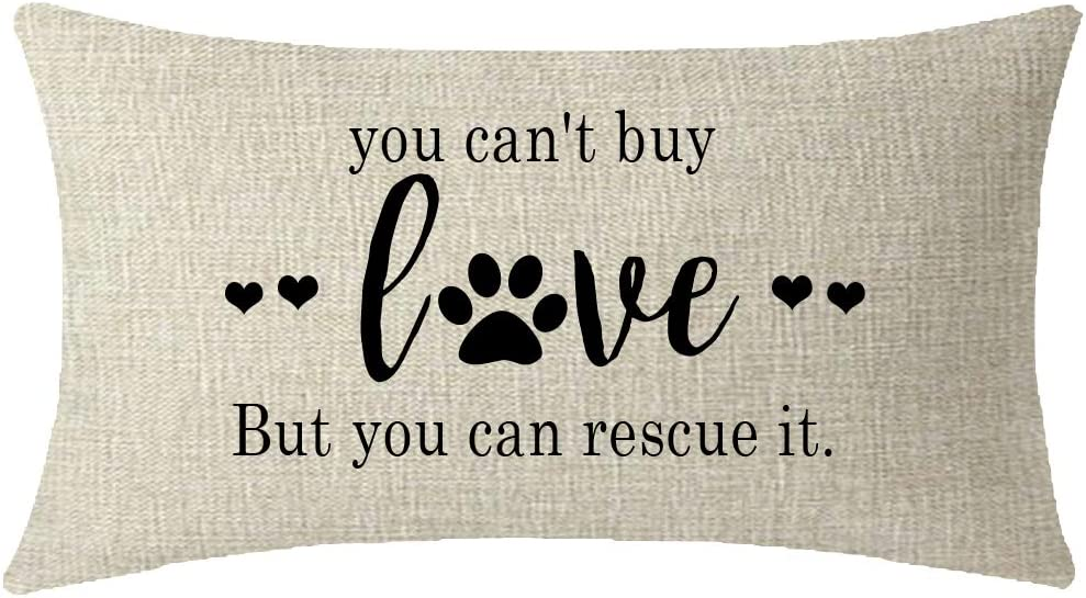 ITFRO Nice Dog Lover Gift to Sister Paw Prints You Cant Buy Love But You Can Rescue It Burlap Cream Throw Pillow Case Cushion Cover Couch Sofa Decorative Rectangle 12x20 inches