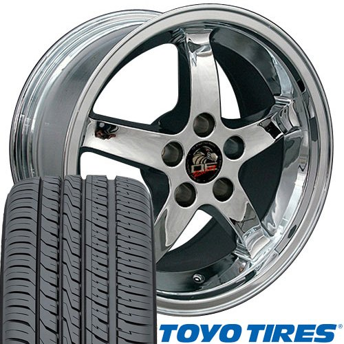 (OE Wheels 17 Inch Fit Ford Mustang FR04B Cobra Chrome 17x10.5/17x9 Staggered Rims Toyo Proxes 4 Plus Tires Set)