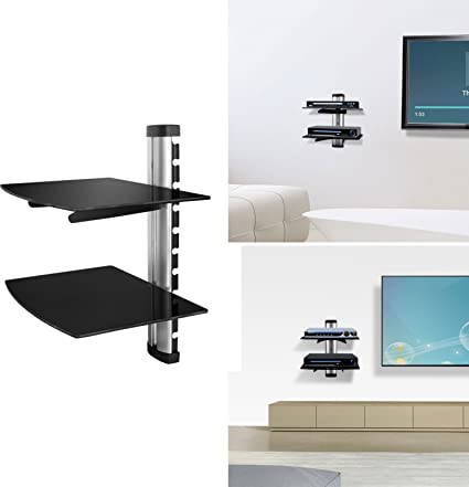 Marvelous Gpct Floating Wall Mount Strengthened Tempered Double Glass Component Shelf Bracket Stand Dvd Player Av Receiver Gaming Systems Xbox One Ps4 Xbox Best Image Libraries Sapebelowcountryjoecom