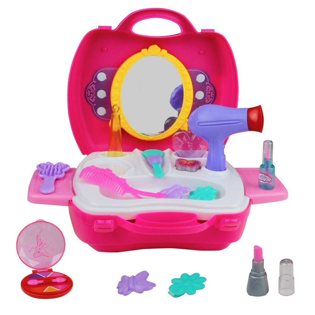 Pink pretend play makeup vanity set with carry case for little pink pretend play makeup vanity set with carry case for little girls fashion toy geotapseo Image collections