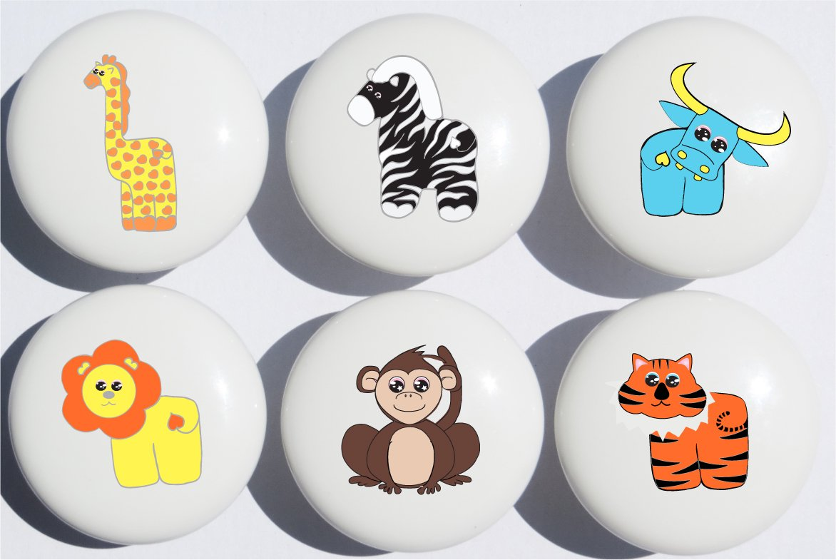 Safari Drawer Pulls Multicolored Set of 6/Jungle Ceramic Drawer Knobs/Children's Nursery Decor with Zebra, Monkey, Tigers, Lion, Water Buffalo and Giraffe Presto Chango Decor inc.