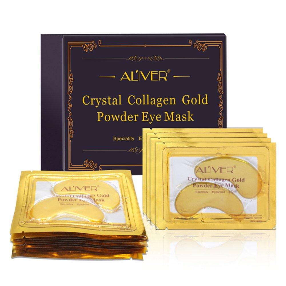 ROMANTIC BEAR 24K Gold Crystal Collagen Eye Mask Anti Aging/Dark Circles/Puffiness/Wrinkles Moisturizing Eye Masks Gel 10 pack (A1)