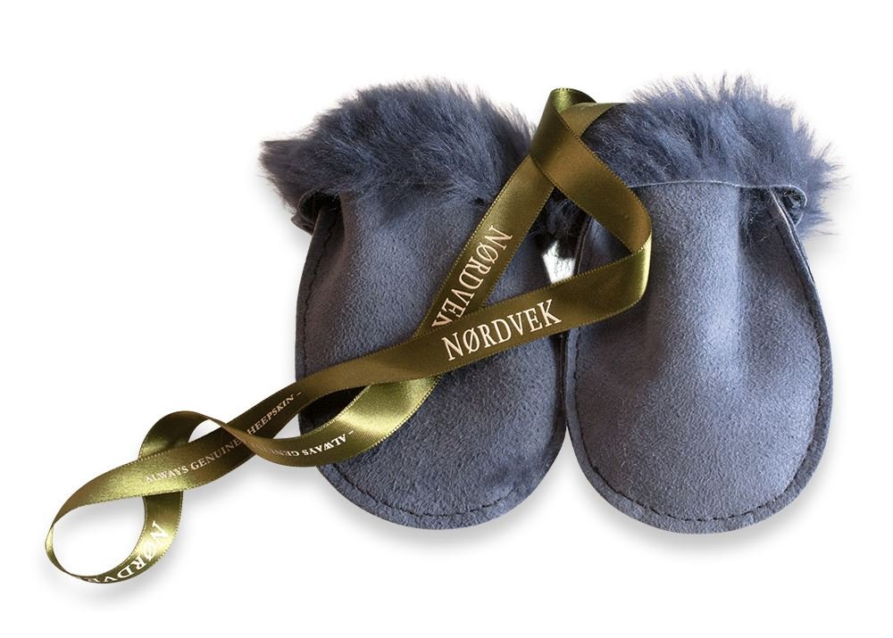 Nordvek 100% Genuine Sheepskin Baby Mittens On A String 0-18 Months # 303-100