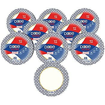 Dixie Ultra Heavy Duty Paper Plates, Dinner Size (10 1/16 Inch) Plates, 176 Count (8 Packs of 22 Plates); Designs May Vary
